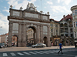 Triumphal Arch (Triumphforte) on a busy intersection in Old Town