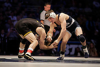 STATE COLLEGE, PA - FEBRUARY 8: Cory Clark of the Iowa Hawkeyes and Jimmy Gulibon of the Penn State Nittany Lions during their match on February 8, 2015 at the Bryce Jordan Center on the campus of Penn State University in State College, Pennsylvania. The Hawkeyes won 18-12. (Photo by Hunter Martin/Getty Images) *** Local Caption *** Cory Clark;Jimmy Gulibon