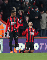 Junior Stanislas (R) of Bournemouth celebrates putting Bournemouth in front during the Premier League match between Bournemouth v West Bromwich Albion played at Vitality Stadium, Bournemouth United Kingdom  on 17 Mar 2018