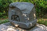 Altar 5, the Altar of the Children, from the Olmec ruins of La Venta. Preclassic Period (700-400 B.C.).  La Venta Museum, Villahermosa, Mexico.
