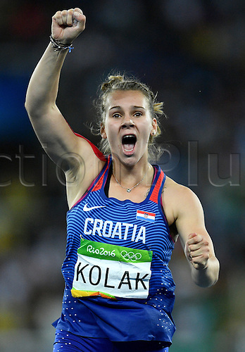 18.08.2016. Rio de Janeiro, Brazil. Sara Kolak of Croatia celebrates after winning the Women's Javelin Throw Final of the Olympic Games 2016 Athletic, Track and Field events at Olympic Stadium during the Rio 2016 Olympic Games in Rio de Janeiro, Brazil, 18 August 2016.