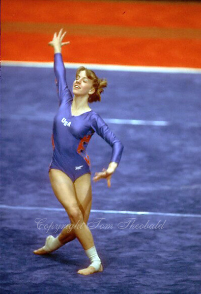 August 15, 1982; Fort Worth, Texas, USA; Michelle Goodwin performs on floor exercise at USGF International at Fort Worth, Texas, USA in July, 1982. Copyright 1982 Tom Theobald