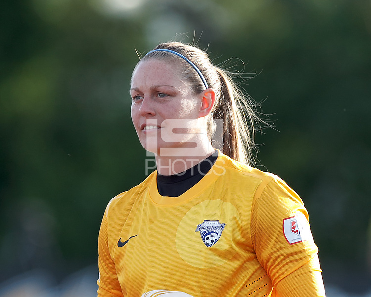 Boston Breakers goalkeeper Ashley Phillips (24). In a National Women's Soccer League Elite (NWSL) match, the Boston Breakers (blue) tied Western New York Flash (white), 2-2, at Dilboy Stadium on June 5, 2013.