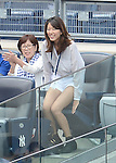 Mai Tanaka,<br /> MAY 31, 2014 - MLB : Mai Tanaka, wife of Masahiro Tanaka of the New York Yankees, cheers during the Major League Baseball game against the Minnesota Twins at Yankee Stadium in Bronx, New York, United States. (Photo by AFLO)