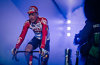 Jens Keukeleire (BEL/Lotto-Soudal) in the 'show-tunnel' leading into the 'Kuipke' velodrome where the team presentation takes place<br /> <br /> 74th Omloop Het Nieuwsblad 2019 <br /> Gent to Ninove (BEL): 200km<br /> <br /> ©kramon