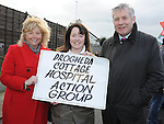 Senator Mary Moran, Elaine Harrington and Fergus O'Dowd TD pictured at the march against the closure of the Cottage Hospital. Photo: Colin Bell/pressphotos.ie
