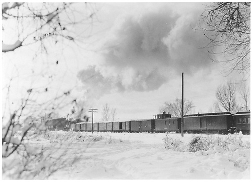 Mixws consist freight / passenger train - boxcars, reffer, baggage, coach.<br /> D&amp;RGW  Montrose, CO  1934