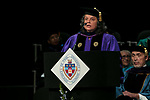 Marisa Alicea, dean of the School for New Learning, addresses students Saturday, June 10, 2017, during the DePaul University School for New Learning commencement ceremony at the Rosemont Theatre in Rosemont, IL. (DePaul University/Jeff Carrion)