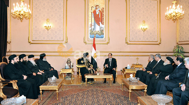 A handout photo made available by the Egyptian Presidency shows Egyptian President Abdel Fattah al-Sisi (R) meeting with Pope Tawadros II (L) of Alexandria, head of the Egyptian Coptic Orthodox Church, to offer condolences after the killing of Egyptian Christians in Libya, at the Coptic Cathedral of Saint Marcos in Cairo, Egypt, 16 February 2015. An Islamic State video released on 15 February claimed to show the extremist group beheading 21 Egyptian Christians abducted in Libya more than a month ago. The Egyptian army responded on 16 February by an airstrike against the militants targeting bases and weapons storage facilities in Libya. Egyptian Presidency