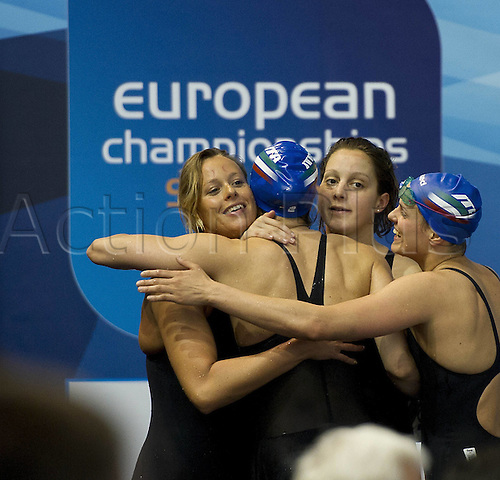 21.05.2012.  Debrecen Hungary.  4x100 Freestyle Women ITA Alice MIZZAU Erica Buratto Federica Pellegrini Finals