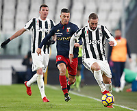 Calcio, Serie A: Juventus - Genoa, Torino, Allianz Stadium, 22 gennaio 2018. <br /> Juventus Gonzalo Higuain (r) in action with Genoa's Armando Izzo (r) during the Italian Serie A football match between Juventus and Genoa at Torino's Allianz stadium, January 22, 2018.<br /> UPDATE IMAGES PRESS/Isabella Bonotto