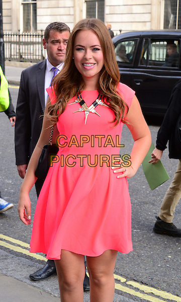 Tanya Burr<br /> The Face TV press launch, Royal Opera House, Covent Garden, London, England.<br /> September 26th, 2013<br /> half length pink dress hand on hip<br /> CAP/BF<br /> &copy;Bob Fidgeon/Capital Pictures