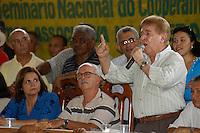 """Sebastião Rodrigues de Moura, o Major Curió fala durante assembléia para a unifição  da Cooperativa de MineraÁ""""o dos Garimpeiros de Serra Pelada - Comigasp e do Sindicato dos Garimpeiros de Serra Pelada - Singasp, as divergÍncias entre as duas entidades causou v·rias mortes nos ˙ltimos anos. A assemblÈia que unificou a categoria derrubara o ˙ltimo entrave para liberaÁ""""o pelo governo federal de nova exploraÁ""""o da serra .18/12/2005CurionÛpolis, Par·, Brasil.Foto Paulo Santos/Interfoto"""