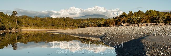 Gillespies beach and lagoon with Aoraki Mount Cook and Mount Tasman of Southern Alps, Westland Tai Poutini National Park, UNESCO World Heritage Area, West Coast, New Zealand, NZ