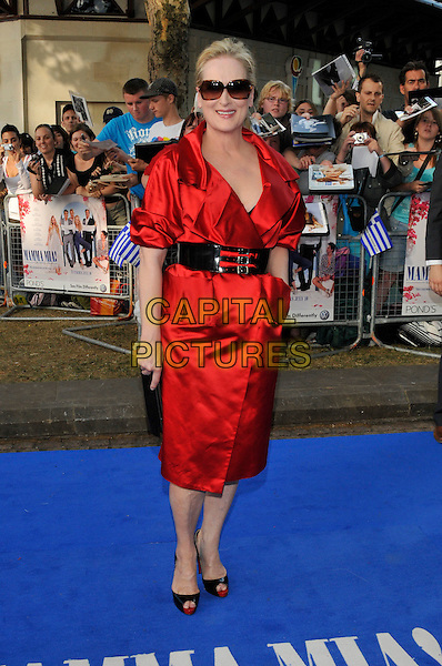 "MERYL STREEP.""Mamma Mia!"" world film premiere.Odeon Cinema, Leicester Square, London, England.30th June 2008.arrivals full length red dress shirt collar black waist belt sunglasses clutch bag Christian Louboutin shoes peep toe platforms hand in pocket.CAP/PL.©Phil Loftus/Capital Pictures"