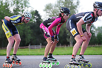 INLINE-SKATEN: STEENWIJK: Gagelsweg (start/finish), Schansweg, Meppelerweg, KPN Inline Cup, Klim van Steenwijk, 02-05-2012, Jelmer Looijesteijn (#28), Kim ji Won (#539), ©foto Martin de Jong