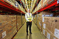 Pictured: Mark Roscrow, Programme Director for NHS Wales Shared Services Partnershi inside the warehouse. Wednesday 02 October 2019<br /> Re: An NHS Wales Warehouse in south east Wales is storing extra medical devices and consumables to ensure health and social services continue to run smoothly in the event of a no-deal Brexit.