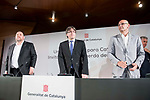 Vice president Oriol Junquera, president of Catalonia, Carles Puigdemont and external Counselor Raul Romeva  at Madrid Town Hall, May 22, 2017. Spain.<br /> (ALTERPHOTOS/BorjaB.Hojas)