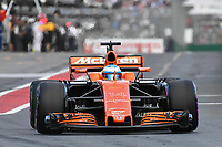 March 25, 2017: Fernando Alonso (ESP) #14 from the McLaren Honda Formula 1 team leaves the pits for the qualifying session at the 2017 Australian Formula One Grand Prix at Albert Park, Melbourne, Australia. Photo Sydney Low