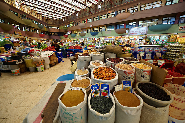 Spice market of the shops of the Bazaar of Konya, Turkey