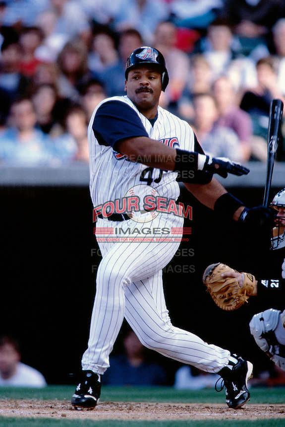 Cecil Fielder of the Anaheim Angels plays in a baseball game at Edison International Field during the 1998 season in Anaheim, California. (Larry Goren/Four Seam Images)