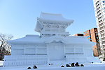 66th Sapporo Snow Festivai February 5th, 2015. <br /> A sculpture of Kasuga Grand Shrine : Inner Gate made from snow. (Photo by Hitoshi Mochizuki/AFLO)