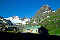 Silvretta Mountains, Ischgl, Austria, July 2004. The Jamtal Hutte, starting point for our glacier trek. Trekking from hut to hut in the Silvretta is a strenuous adventure, Many high alpine tours are possible, as long as you have experience in crossing glaciers and basic rock climbing. If you don't have experience and you are not afraid of heights most peaks can be climbed with local mountain guides. Photo by Frits Meyst/Adventure4ever.com