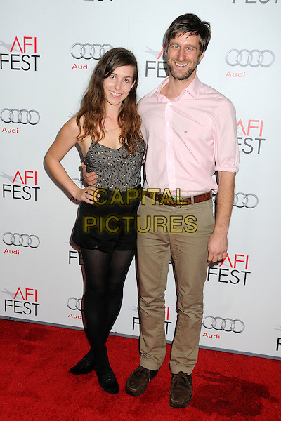 "Sophia Takal and Lawrence Michael Levine.AFI Fest 2011 Gala Screening of ""The Lady"" held at Grauman's Chinese Theatre, Hollywood, California, USA..November 4th, 2011.full length black skirt tights top pink shirt beige trousers beard facial hair.CAP/ADM/BP.©Byron Purvis/AdMedia/Capital Pictures."