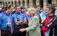 The Duchess of Cornwall accompanied by Bryn Parry (joint founder of Help for Heroes) launches the Big Battlefields Bike Ride from Paris to London, organised by the charity Help for Heroes, commencing from Les Invalides, Paris, concluding six days later at Horse Guards Parade, London via Compiègne, Amiens, Le Touquet, Calais and Chatham. Over 300 cyclists took part in the ride from Paris to London, where they were joined by a further 1,000 riders to form the Hero Ride for the final parade through London. The combined event earned more than £1 million for the charity, in support of war wounded servicemen and women.  Les Invalides, Paris, Tuesday 28th May 2013.