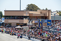 Jul 30, 2017; Sonoma, CA, USA; NHRA fans in the grandstands next to media room/press tower suites during the Sonoma Nationals at Sonoma Raceway. Mandatory Credit: Mark J. Rebilas-USA TODAY Sports