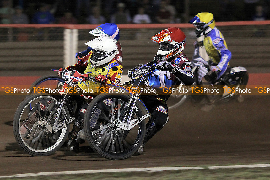 Heat 15: Davey Watt (blue), Peter Karlsson (red), Ben Barker (white) and Simon Gustafsson - Lakeside Hammers vs Eastbourne Eagles - Sky Sports Elite League Speedway at Arena Essex Raceway, Purfleet - 17/08/12 - MANDATORY CREDIT: Gavin Ellis/TGSPHOTO - Self billing applies where appropriate - 0845 094 6026 - contact@tgsphoto.co.uk - NO UNPAID USE.