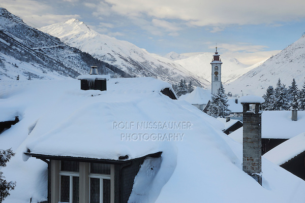 Village of Andermatt in winter, Andermatt, Switzerland, Europe