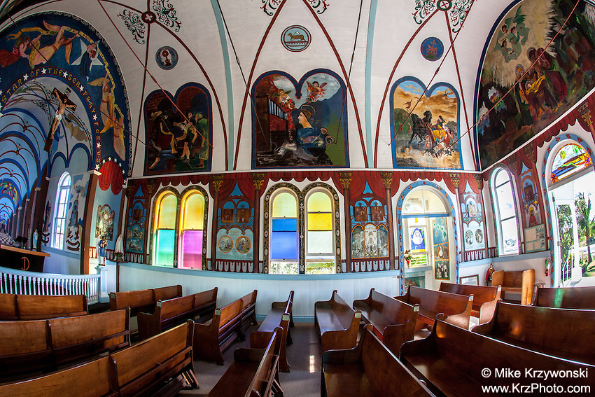Inside of Star of the Sea Catholic Church in Kalapana, Big Island, Hawaii