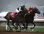 ARCADIA, CA MARCH 10: Bolt d' Oro and Mckinzie battle in the San Felipe Stakes (Grade II) on March 10, 2018 at Santa Anita Park in Arcadia, CA (Photo by Chris Crestik/ Eclipse Sportswire/ Getty Images)