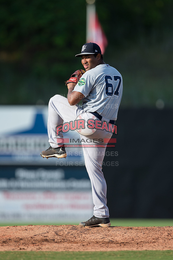 Pulaski Yankees starting pitcher Juan Jimenez (67) in action against the Danville Braves at American Legion Post 325 Field on July 31, 2016 in Danville, Virginia.  The Yankees defeated the Braves 8-3.  (Brian Westerholt/Four Seam Images)