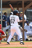 Detroit Tigers Adrian Alfaro (57) during a minor league spring training game against the Washington Nationals on March 22, 2015 at Tiger Town in Lakeland, Florida.  (Mike Janes/Four Seam Images)