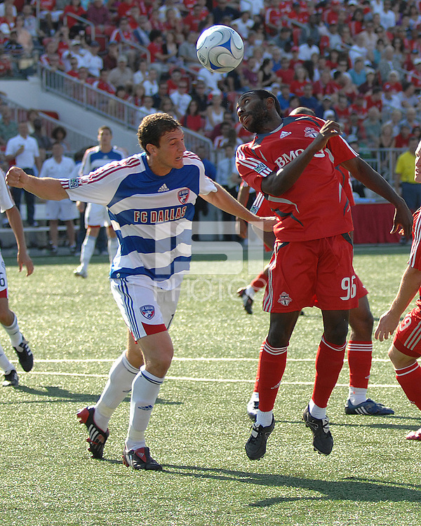 Jeff Cunningham (96) attempts to cross a header at BMO Field on August 3, 2008. FC Dallas won 2-0.