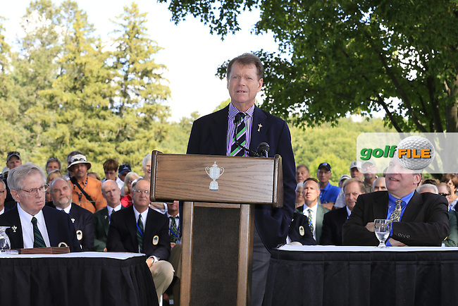 2014 USA Ryder Cup Captain Tom Watson (USA) is inducted into The Hill of Fame during Monday's Practice Day of the 95th PGA Championship 2013 held at Oak Hills Country Club, Rochester, New York.<br /> 5th August 2013.<br /> Picture: Eoin Clarke www.golffile.ie