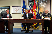 United States Secretary of Defense Ashton Carter (L), U.S. President Barack Obama (C) and Chairman of the Joint Chiefs of Staff U.S. Army General Martin Dempsey (R) look on at the start of a meeting with members of the president's national security team concerning ISIS at the Pentagon in Washington, D.C. on Monday, July 6, 2015. <br /> Credit: Drew Angerer / Pool via CNP