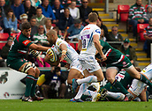30th September 2017, Welford Road, Leicester, England; Aviva Premiership rugby, Leicester Tigers versus Exeter Chiefs;  Olly Woodburn on the charge for Exeter
