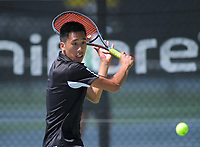Chris Zhang. 2019 Wellington Tennis Open at Renouf Centre in Wellington, New Zealand on Thursday, 19 December 2019. Photo: Dave Lintott / lintottphoto.co.nz