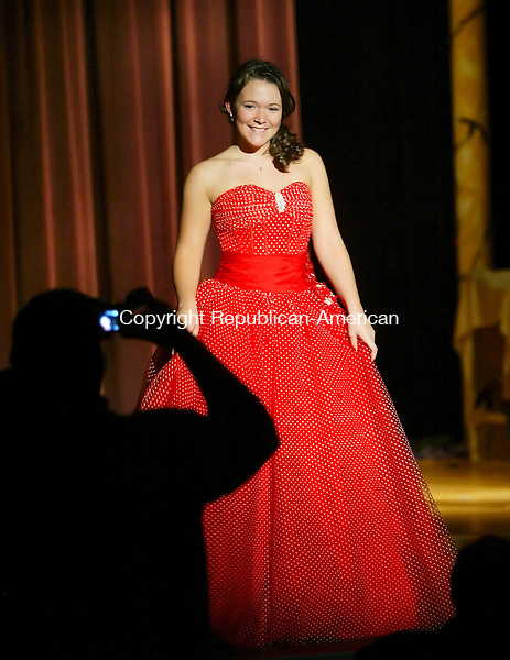 THOMASTON, CT, 03/21/07- 032107BZ06- Laura Lowther poses for a picture during the THS Prom Fashion Show at Thomaston High School Wednesday night.<br /> Jamison C. Bazinet Republican-American