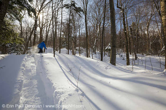 Man snowshoeing in Lafayette Brook Scenic Area in Franconia, New Hampshire USA during the winter months