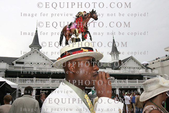 Fancy hats on Kentucky Derby Day 2007 under the Twin Spires of Churchill Downs in Louisville, Kentucky. Photo By Bill Denver/EQUI-PHOTO.