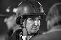 The Chef d'Equipes and riders patiently await the solution to the lighting problem during the Longines FEI Nations Cup Jumping Final. 2017 ESP-Longines FEI Nations Cup Jumping Final - CSIO Barcelona. Real Club de Polo de Barcelona. Saturday 30 September. Copyright Photo: Libby Law Photography