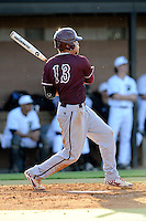 Designated hitter Bradley Jones (13) of the College of Charleston Cougars bats in a game against the University of South Carolina Upstate Spartans on Tuesday, March 31, 2015, at Cleveland S. Harley Park in Spartanburg, South Carolina. Charleston won, 10-0. (Tom Priddy/Four Seam Images)