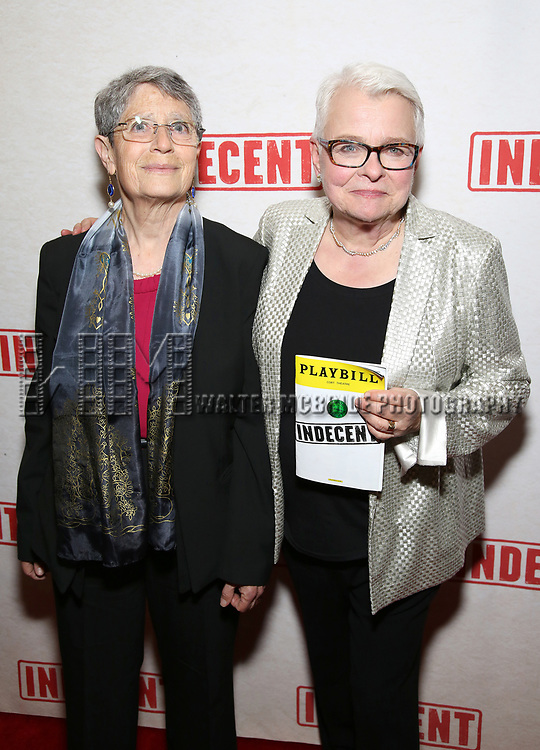Anne Fausto-Sterling and Paula Vogel attends the Broadway Opening Night After Party for  'Indecent' at Bryant Park Grill on April 18, 2017 in New York City.