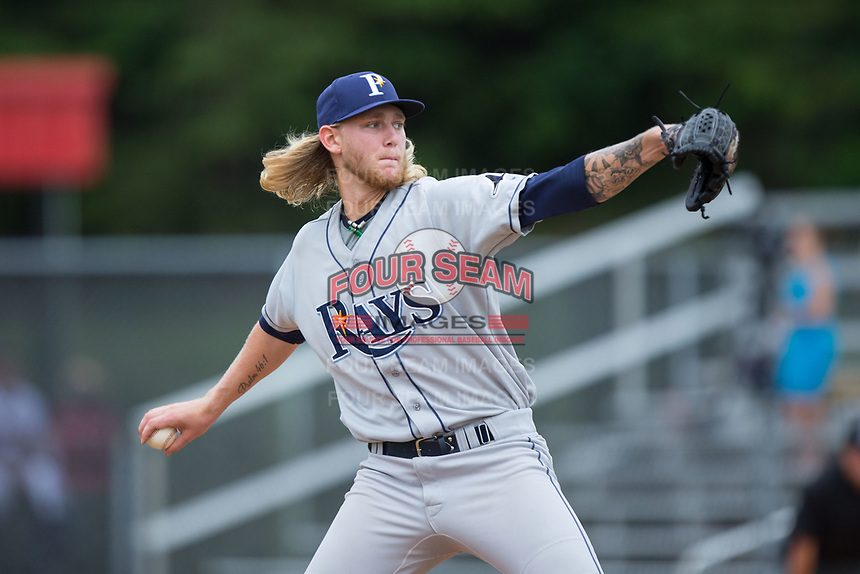 Princeton Rays starting pitcher Easton McGee (31) in action against the Danville Braves at American Legion Post 325 Field on June 25, 2017 in Danville, Virginia.  The Braves walked-off the Rays 7-6 in 11 innings.  (Brian Westerholt/Four Seam Images)