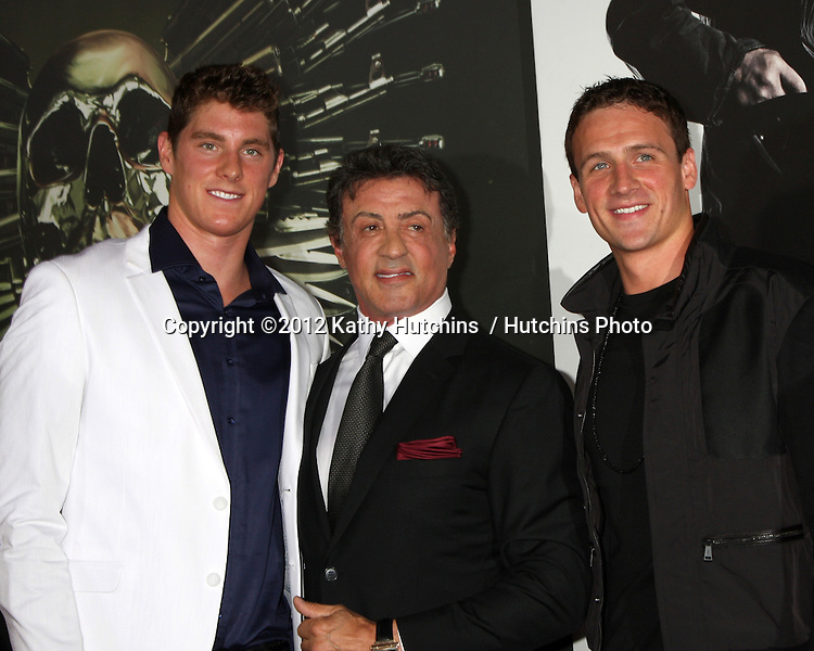 "Los Angeles - AUG 15:  Conor Dwyer, Sylvester Stallone, Ryan Lochte arrives at the ""The Expendables 2""  Premiere at Graumans Chinese Theater on August 15, 2012 in Los Angeles, CA"