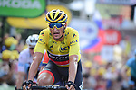 Race leader Yellow Jersey Greg Van Avermaet (BEL) BMC Racing Team crosses the finish line of Stage 7 of the 2018 Tour de France running 231km from Fougeres to Chartres, France. 13th July 2018. <br /> Picture: ASO/Pauline Ballet | Cyclefile<br /> All photos usage must carry mandatory copyright credit (&copy; Cyclefile | ASO/Pauline Ballet)